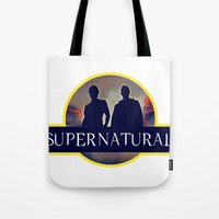 supernatural Tote Bags featuring Supernatural  by amirshazrin