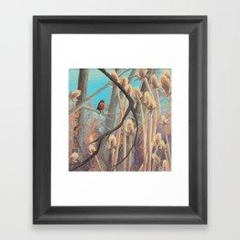 Robin and Teasels  Framed Art Print