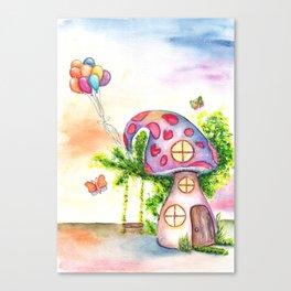 Mushroom House Watercolor Painting Canvas Print