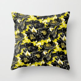 Mount Cook Lily - Yellow/Black Throw Pillow