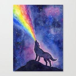Galaxy Wolf Howling Rainbow Canvas Print