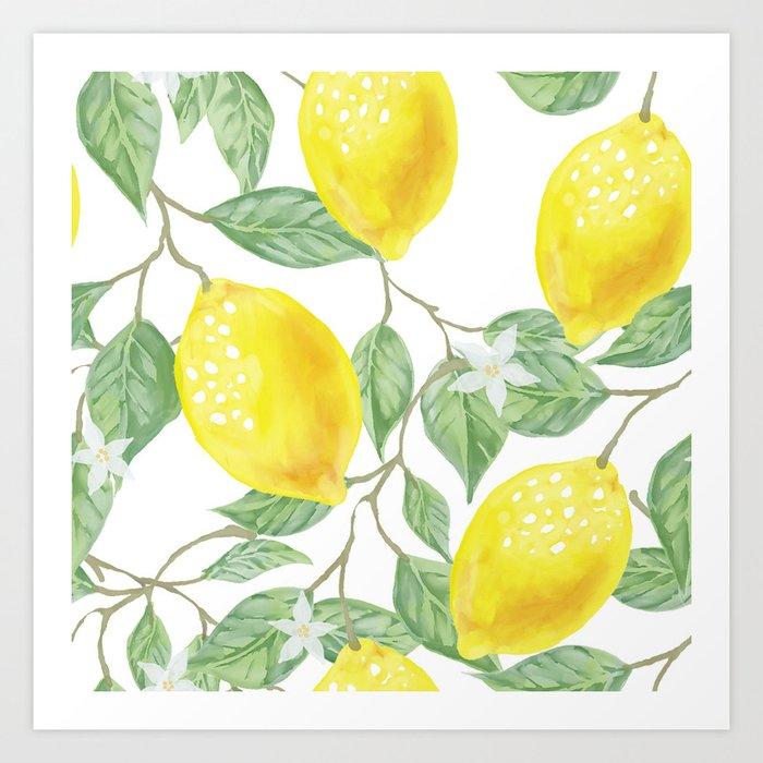 Lemons and Flowers Kunstdrucke