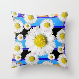 Blue Shasta Daisy's Black Color Art Throw Pillow