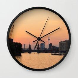 berlin kreuzberg -  skyline and sunset Wall Clock