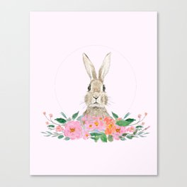 rabbit and pink camellia flower Canvas Print