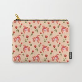 Pretty cute little wild canary birds, red blooming garden tulips, nature flowers bright peach color pattern. Hello summer. Gifts for tulip lovers. Botanical floral artistic design. Carry-All Pouch