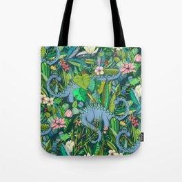 Improbable Botanical with Dinosaurs - dark green Tote Bag