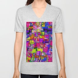 geometric square shape pattern abstract background in pink purple blue yellow Unisex V-Neck