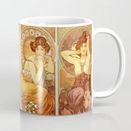 """Alphonse Mucha """"The Gem Series - Ruby, Amethyst, Emerald, Topaz"""" Coffee Mug"""