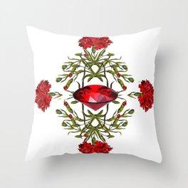 Birth Stone & Flower Print/JANUARY Throw Pillow