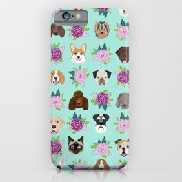 Dogs and cats pet friendly floral animal lover gifts dog breeds cat ladies iPhone Case