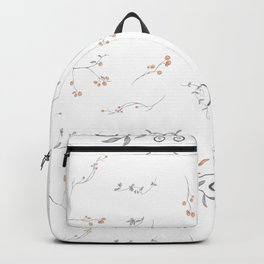 Watercolor hand painted orange blush gray floral Backpack