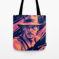 indiana jones Tote Bags featuring indiana jones// bad actors v2 by mergedvisible