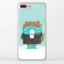 Winter Cat Clear iPhone Case