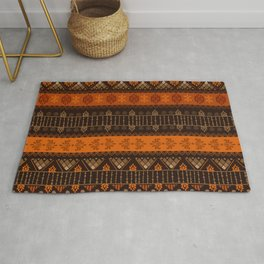 Orange & Black Boho Geometric Pattern Rug
