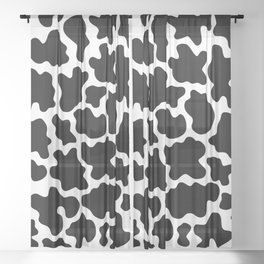 Cow Print Black and White Animal Print Patterns Sheer Curtain