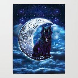 Black Cat Celtic Crescent Moon Poster
