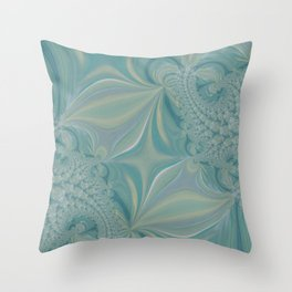 Soft Green Fractal - Abstract Art By Fluid Nature Throw Pillow