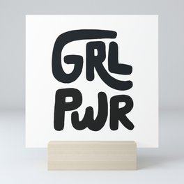 Grl Pwr black and white Mini Art Print