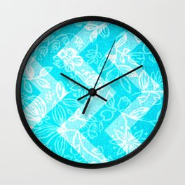 Turquoise Flowers Wall Clock