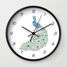 Jeweled Peacock on White Wall Clock