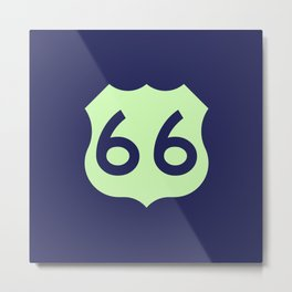 Route 66 • Travel and Road Trip Design • Navy Blue and Light Green Metal Print