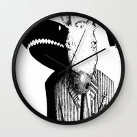 sharks Wall Clocks featuring Sharks by Antony Griffiths
