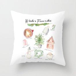 Winter Favorites in Watercolor Throw Pillow