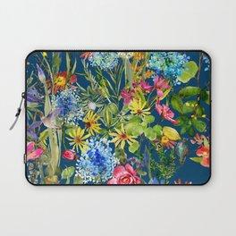 Watercolor flower garden with hummingbird Laptop Sleeve