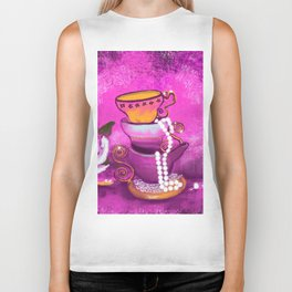 Cups and Pearls Biker Tank