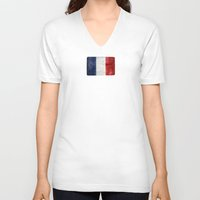france V-neck T-shirts featuring France by Arken25