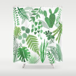 Houseplant Collage Shower Curtain