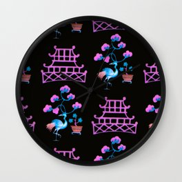 Asian Pagoda Garden Repeat in Rose and Onyx Wall Clock