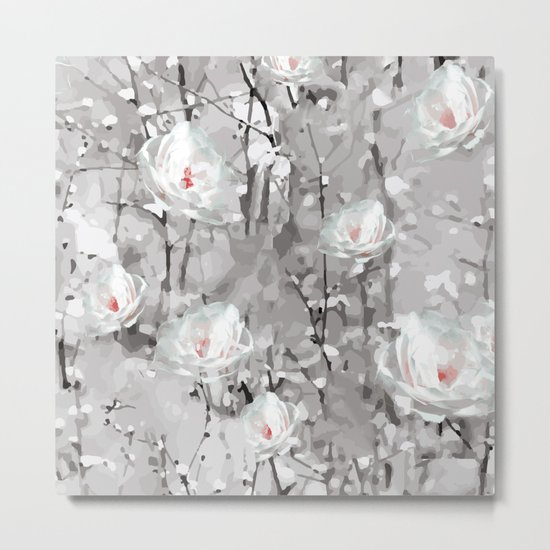 White Snow Flowers Metal Print