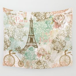 I love Paris - Vintage Shabby Chic - Eiffeltower France Flowers Floral Wall Tapestry