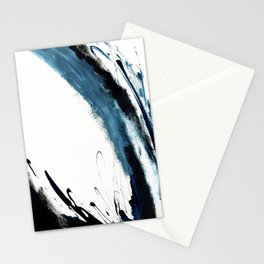 Reykjavik: a pretty and minimal mixed media piece in black, white, and blue Stationery Cards