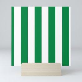 Classic Cabana Stripes in White + Kelly Green Mini Art Print
