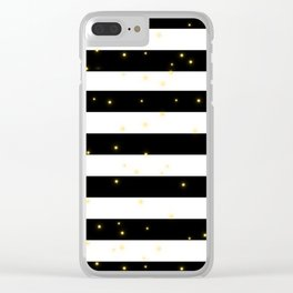 Black and White Stripes with Golden Dots Clear iPhone Case