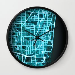 Fort Lauderdale, FL, USA, Blue, White, Neon, Glow, City, Map Wall Clock