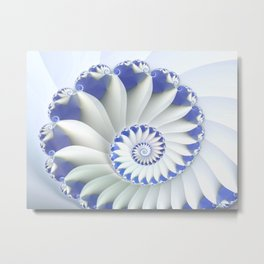 Blue Nautilus Abstract Fractal Art Metal Print