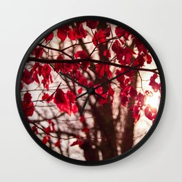 Red Leafs Wall Clock
