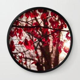 Red Leafs Wall Clock