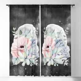 Pretty Succulents Full Moon Night Sky by Nature Magick Blackout Curtain