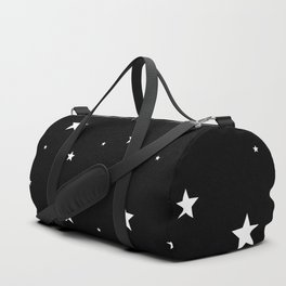 Scattered Stars - white on black Duffle Bag