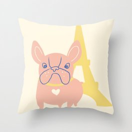 French bulldog with Eiffel Tower at the background Throw Pillow