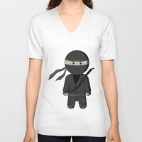 ninja V-neck T-shirts featuring Ninja by Shyam13