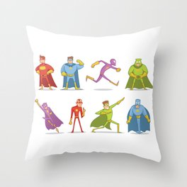 Funny Superheroes Throw Pillow
