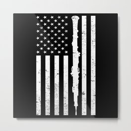 American Flag Oboe Gift for Oboe Player Metal Print