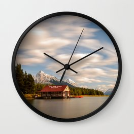 MALIGNE LAKE AUTUMN CANADIAN ROCKIES JASPER CANADA LANDSCAPE Wall Clock
