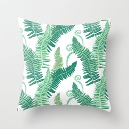 Native Ferns, Vintage Tropical Throw Pillow